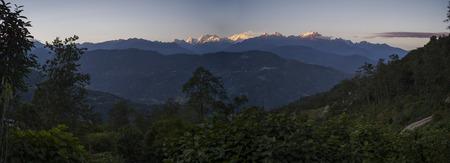 View of Kangchenjunga mountain range, Great Himalaya Range, Sikkim, India