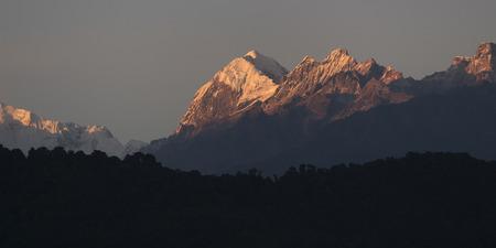 Scenic view of Mount Pandim, Kangchenjunga Mountain Range, Great Himalaya Range, Sikkim, India