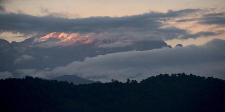 Scenic view of sunlight on Singalila Range, Great Himalaya Range, Sikkim, India
