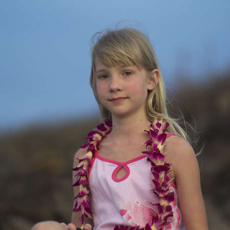 leis: Family Vacation - Hawaiian Islands of Molokai and Kauai Stock Photo