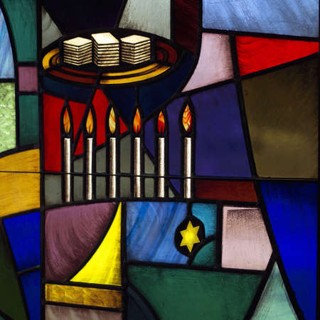 judaica: Synagogue - Stained Glass Windows Stock Photo
