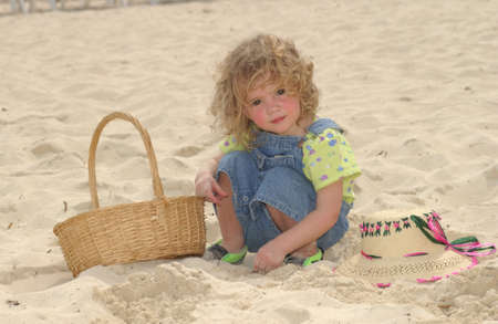 children  play: Child on beach