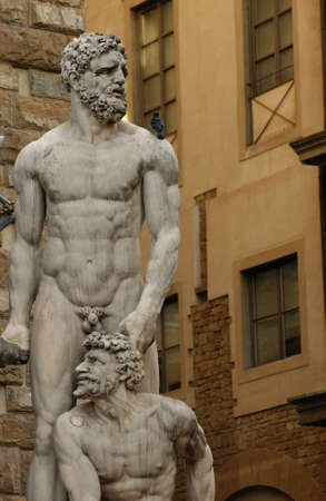 naked statue: Statues of Florence, Italy Stock Photo