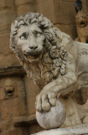 lion figurines: Statues of Florence, Italy Stock Photo