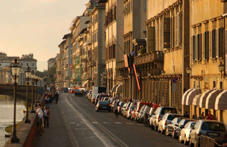 awnings: Street of  Florence Italy Stock Photo