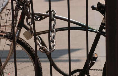 New York City - Locked Bicycle in Soho photo