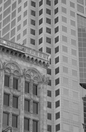 dominion: Black and White Photograph of Curry Building and Toronto Dominion Bank Building