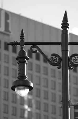 ironworks: Black and White Photograph of Lamp Post on Portage Avenue Stock Photo