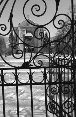 St. Boniface Cathedral, Winnipeg, Manitoba, Canada in winter photo