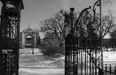 St. Boniface Cathedral - Winnipeg, Manitoba, Canada in winter photo