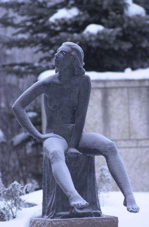 naked statue: Winnipeg Manitoba, Canada Winter Scenes