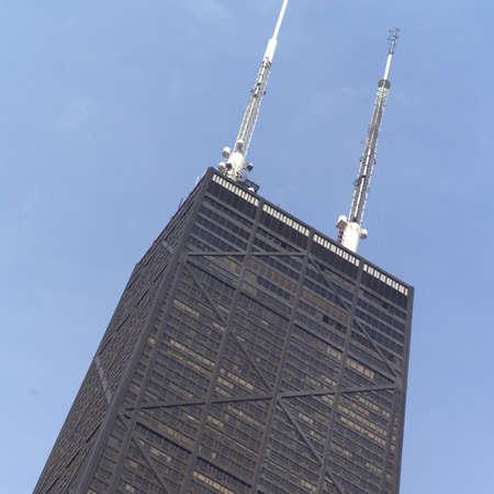 john hancock: Low angle view of a John Hancock Building in Chicago Stock Photo