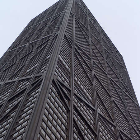 john hancock: Low angle view of John Hancock Building in Chicago Stock Photo