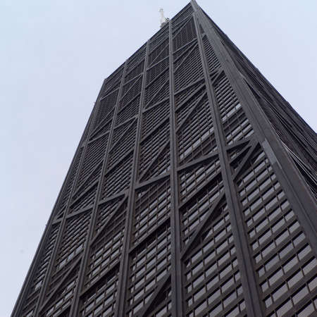 hancock: Low angle view of John Hancock Building in Chicago Stock Photo