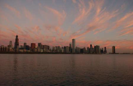 establishment states: City view of Chicago at twilight