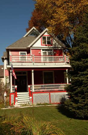 establishment states: Facade of a house in Oak Park in Chicago Stock Photo