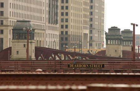 establishment states: High rise buildings near a bridge in Chicago Stock Photo