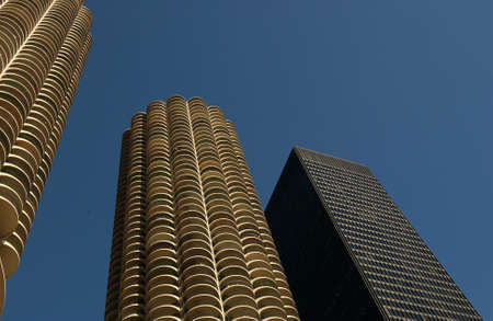 establishment states: Low angle view of high rise buildings in Chicago