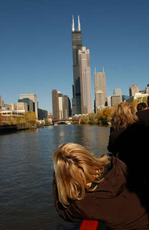 establishment states: Person looking at high rise buildings in Chicago Stock Photo