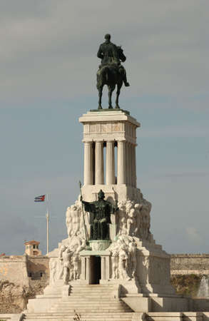named person: Low angle view of a statue mounted on a pedestal, Havana, Cuba Stock Photo