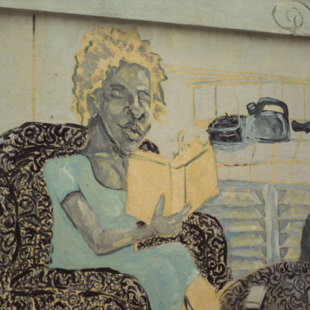 mural: Mural of a person on a wall, Havana, Cuba Stock Photo