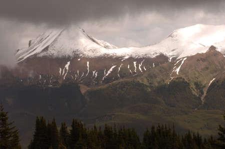 snow capped: Nevadas cima de la monta�a, Jasper National Park, Canad�  Foto de archivo