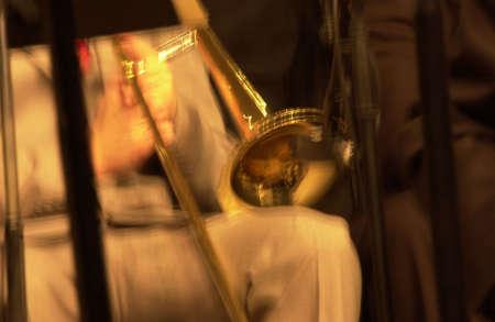 tuneful: Musician playing a Trombone Stock Photo