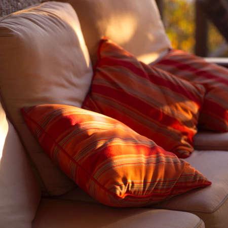 throw cushion: Striped cushions on a sofa