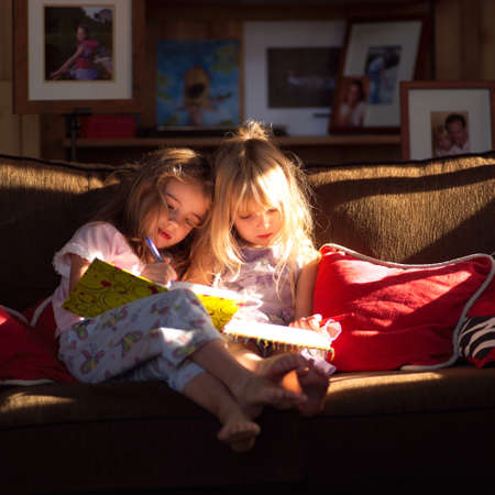 Two girls on a sofa looking at books Stock Photo - 296369