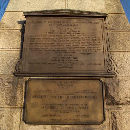 commemorative: Commemorative Plaque on Brooklyn Bridge, New York City