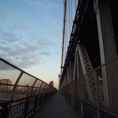 pedestrian walkway: Pedestrian walkway on Manhattan Bridge, New York City