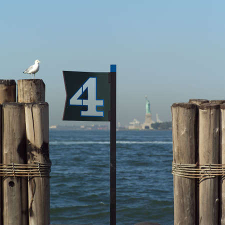 admiral: View of Statue of Liberty from Admiral Dewey Promenade, Battery Park, New York City Stock Photo