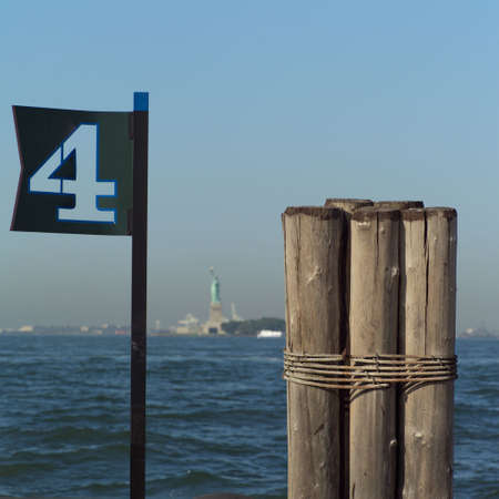 dewey: View of Statue of Liberty from Admiral Dewey Promenade, Battery Park, New York City Stock Photo