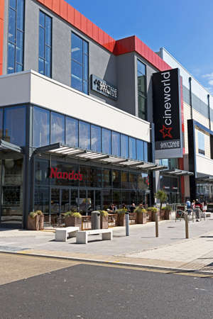 Weston-super-Mare, UK - July 11, 2019: The Cineworld cinema and Nando's restaurant at Dolphin Square