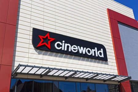 Weston-super-Mare, UK - July 11, 2019: The Cineworld Cinema at Dolphin Square Sajtókép