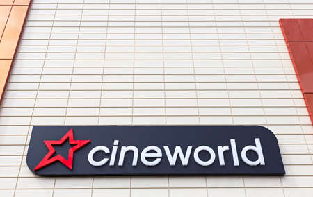 Weston-super-Mare, UK - July 5, 2019: A sign showing the name and logo of Cineworld outside the company's cinema in the town centre Sajtókép