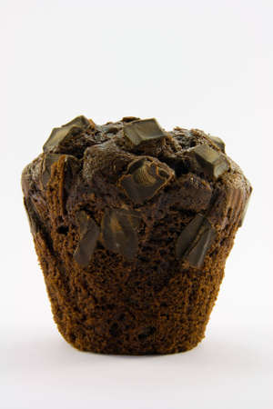 teacake: Single dark chocolate muffin with a white background