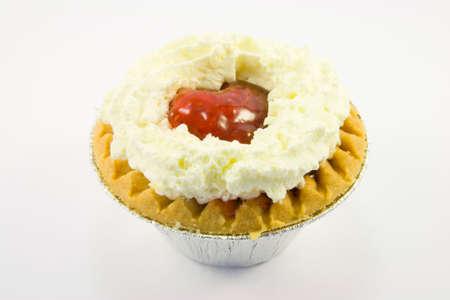 Single strawberry tart with cream on a white background Stock Photo - 4727484