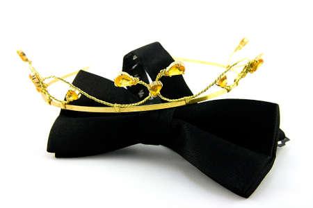 Single Black Bow Tie with Tiara on a white Background photo