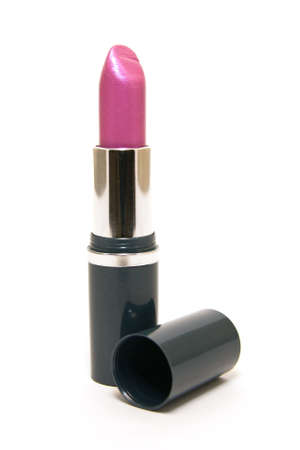 Single pink lipstick with the lid on a white background Stock Photo - 4944061