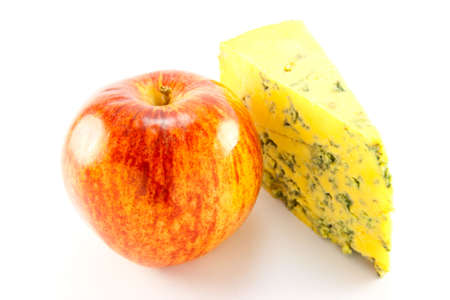 Single red apple and slice of blue cheese Stock Photo - 5068810
