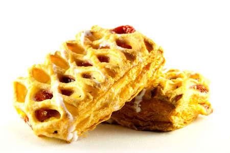 danish puff pastry: Two raspberry and custard danish