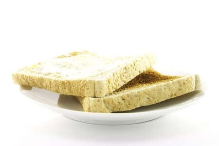 browned: Crunchy lightly browned toast on a round white plate with a white background