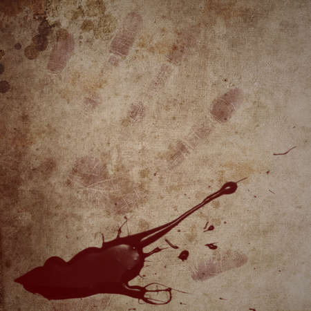 Dirty looking grunge background with red blood splatter and hand print with copy space photo