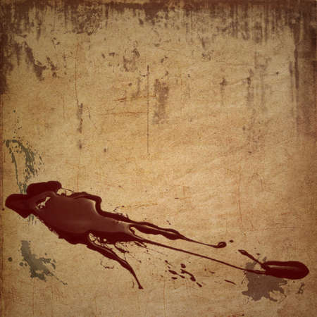 Dirty looking grunge background with red blood splatter and copy space photo