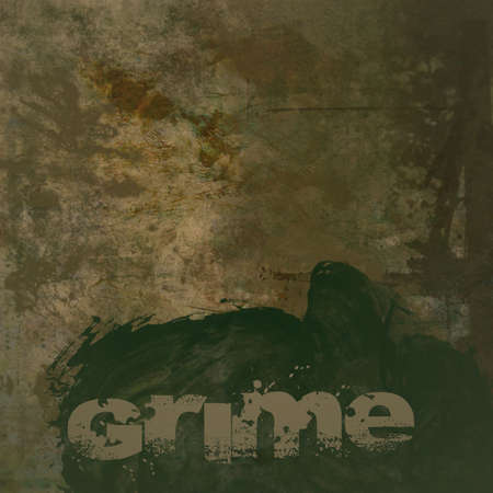 grime: Grunge brown dirty looking background with brown stains and green grime text and copy space