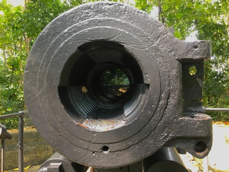Old six inch British colonial cannon  in Labrador park Singapore hill fortress