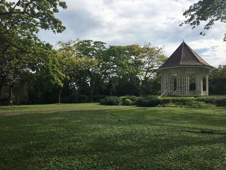 White Bandstand or Gazebo at the Unesco Botanic Gardens Singapore Stock Photo