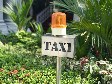 Bright metal Taxi stand sign with orange rotating light on top with green plants in background