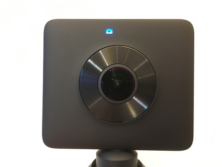 Wuhan China, 9 September 2017: Isolated closeup of Xiaomi MiJia Mi Sphere Chinese 360 degrees VR camera